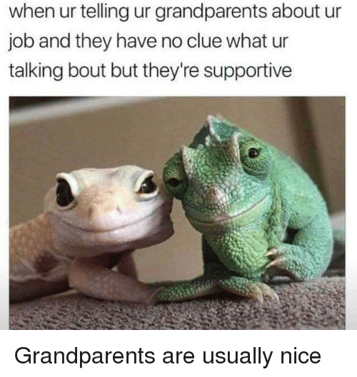 Nice, Job, and Clue: when ur telling ur grandparents about ur  job and they have no clue what ur  talking bout but they're supportive Grandparents are usually nice