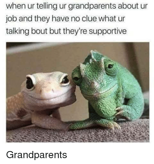 Job, Clue, and They: when ur telling ur grandparents about ur  job and they have no clue what ur  talking bout but they're supportive Grandparents