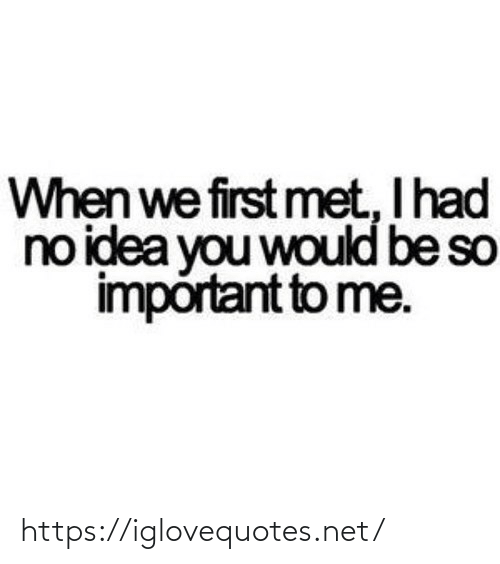 Be So: When we first met, I had  no idea you would be so  impórtant to me. https://iglovequotes.net/
