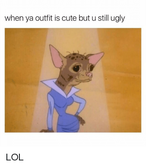 Cute, Lol, and Ugly: when ya outfit is cute but u still ugly LOL