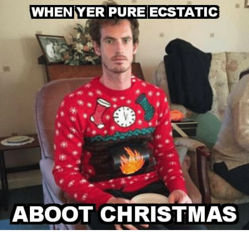 Memes, 🤖, and Pure: WHEN YER PURE ECSTATIC  ABOOT CHRISTMAS