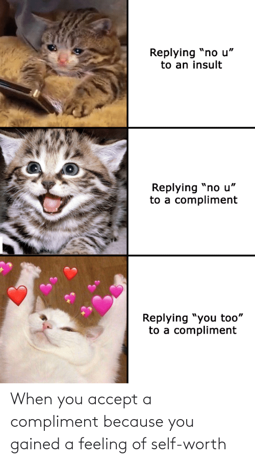 feeling: When you accept a compliment because you gained a feeling of self-worth
