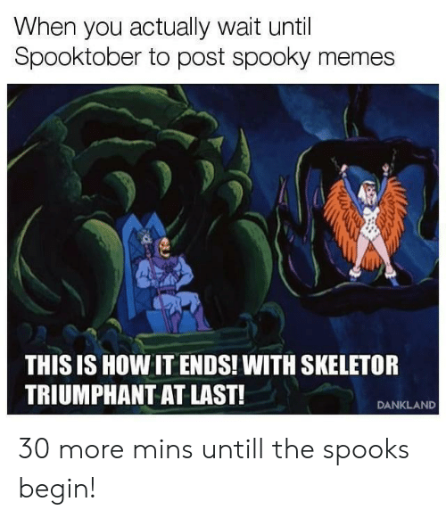 Memes, Reddit, and Spooky: When you actually wait until  Spooktober to post spooky memes  THIS IS HOW IT ENDS! WITH SKELETOR  TRIUMPHANT AT LAST!  DANKLAND 30 more mins untill the spooks begin!