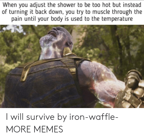 Dank, Memes, and Shower: When you adjust the shower to be too hot but instead  of turning it back down, you try to muscle through the  pain until your body is used to the temperature I will survive by iron-waffle- MORE MEMES