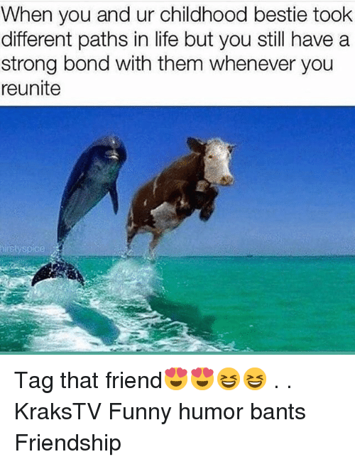 Funny, Life, and Memes: When you and ur childhood bestie took  different paths in life but you still have a  strong bond with them whenever you  reunite Tag that friend😍😍😆😆 . . KraksTV Funny humor bants Friendship