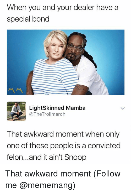 Snoop, Awkward, and That Awkward Moment: When you and your dealer have a  special bond  LightSkinned Mamba  @TheTrollmarch  That awkward moment when only  one of these people is a convicted  felon...and it ain't Snoop That awkward moment (Follow me @mememang)
