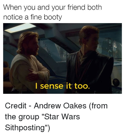 """Noticably: When you and your friend both  notice a fine booty  I sense it too. Credit - Andrew Oakes (from the group """"Star Wars Sithposting"""")"""
