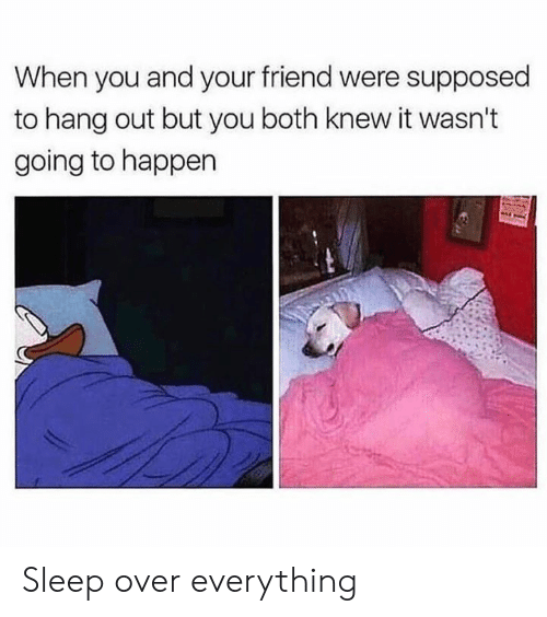 Knew It: When you and your friend were supposed  to hang out but you both knew it wasn't  going to happen Sleep over everything