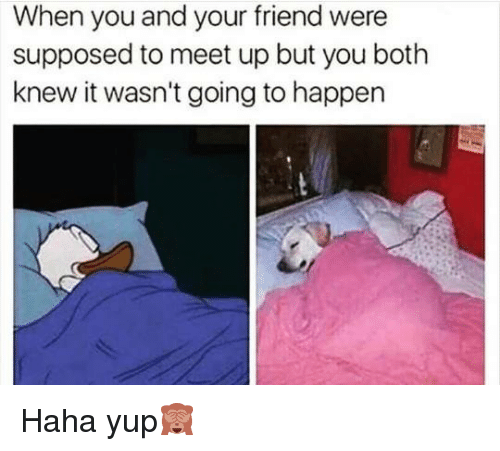 Memes, 🤖, and Supposably: When you and your friend were  supposed to meet up but you both  knew it wasn't going to happen Haha yup🙈