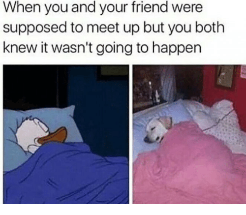 Friend, You, and When You: When you and your friend were  supposed to meet up but you both  knew it wasn't going to happen