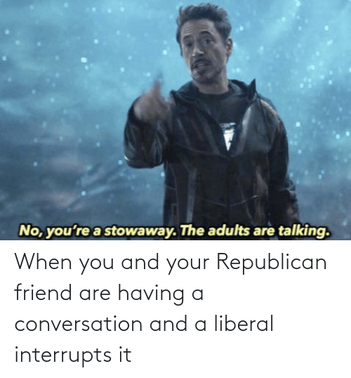 Conservative Memes: When you and your Republican friend are having a conversation and a liberal interrupts it