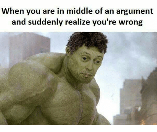 Funny, Wrongs, and Realizing: When you are in middle of an argument  and suddenly realize you're wrong