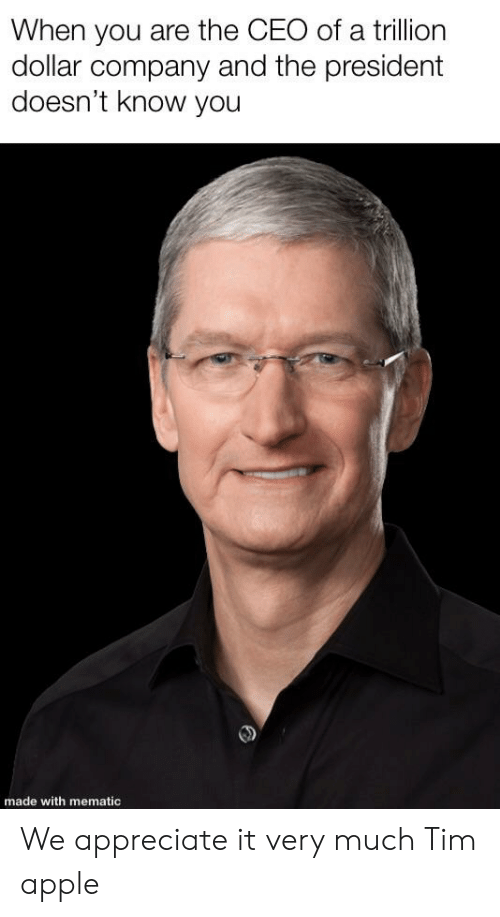 Apple, Appreciate, and Company: When you are the CEO of a trillion  dollar company and the president  doesn't know you  made with mematic We appreciate it very much Tim apple