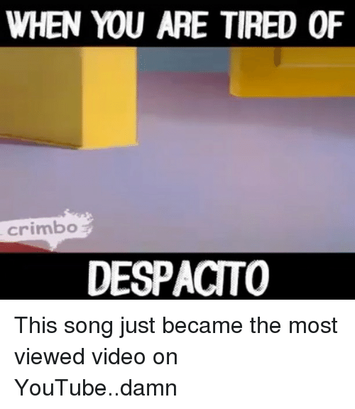 Memes, youtube.com, and Video: WHEN YOU ARE TIRED OF  crimbo  DESPACTO This song just became the most viewed video on YouTube..damn