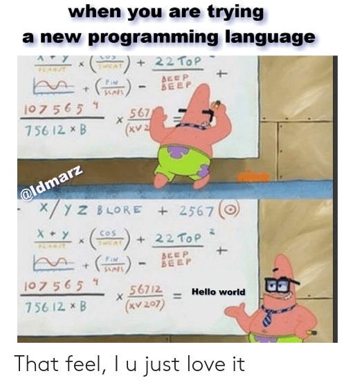 Hello, Love, and World: when you are trying  a new programming  language  22 ToP  BEOP  BEEP  107 565 1  567  X  756 12. xB  (xv2  @ldmarz  /Y z BLORE 2567  Xy  COS  22 ToP  BEEP  BEEP  107 565 1  56712  (KV207)  Hello world  756 12 x B That feel, I u just love it