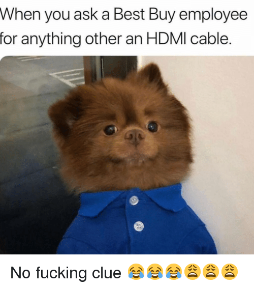 Best Buy: When you ask a Best Buy employee  for anything other an HDMI cable. No fucking clue 😂😂😂😩😩😩