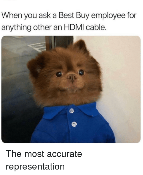 Best Buy: When you ask a Best Buy employee for  anything other an HDMI cable. The most accurate representation
