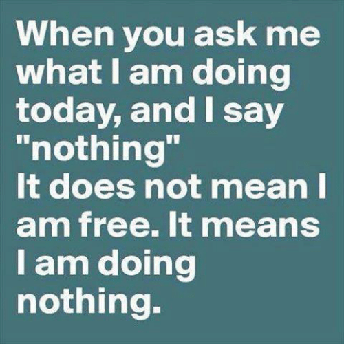 I Am Free: When you ask me  what I am doing  today, and I say  nothing  It does not mean I  am free. It means  I am doing  nothing.
