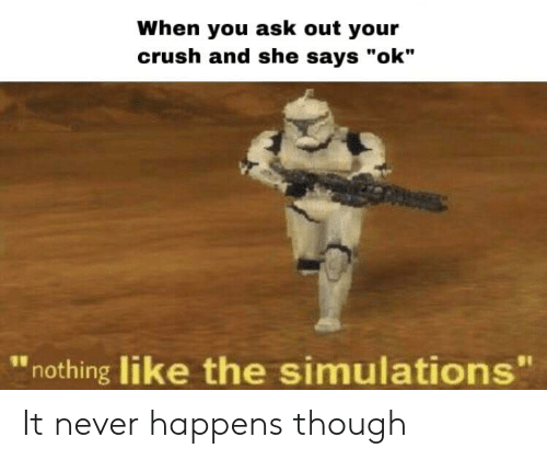 """Crush, Never, and Ask: When you ask out your  crush and she says """"ok""""  nothing like the simulations"""" It never happens though"""