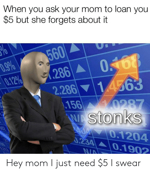 Dank Memes, Mom, and Ask: When you ask your mom to loan you  $5 but she forgets about it  560  (286 0468  2.286 14563  156  D.9%  0.12%  0287  WAStonks  A0 0.1204  0.234 0.1902  213  N/A Hey mom I just need $5 I swear