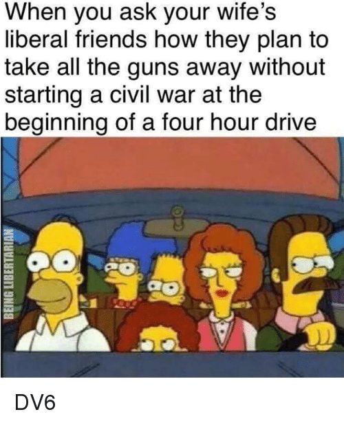 Friends, Guns, and Memes: When you ask your wife's  liberal friends how they plan to  take all the guns away without  starting a civil war at the  beginning of a four hour drive  0 DV6