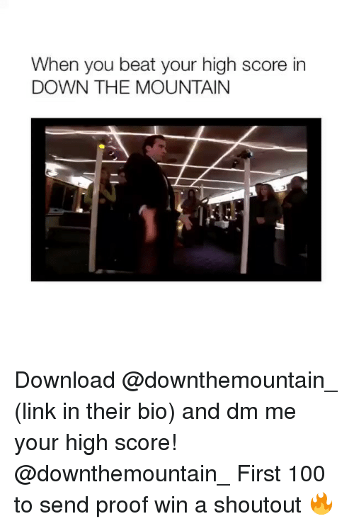 Anaconda, Link, and Girl Memes: When you beat your high score in  DOWN THE MOUNTAIN Download @downthemountain_ (link in their bio) and dm me your high score! @downthemountain_ First 100 to send proof win a shoutout 🔥