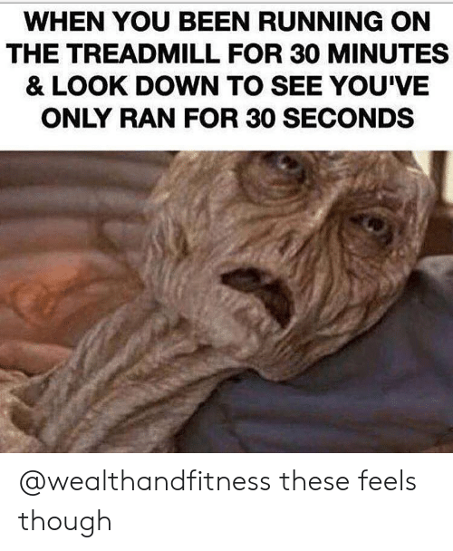 Gym, Treadmill, and Running: WHEN YOU BEEN RUNNING ON  THE TREADMILL FOR 30 MINUTES  & LOOK DOWN TO SEE YOU'VE  ONLY RAN FOR 30 SECONDS @wealthandfitness these feels though