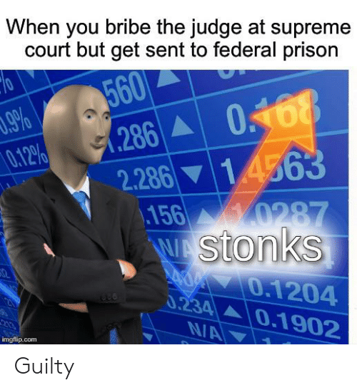 Supreme, Supreme Court, and Prison: When you bribe the judge at supreme  court but get sent to federal prison  560  286A  2.286 14563  156 0287  WAStonks  70  .9%  0.12%  0168  0.1204  0.234 0.1902  N/A  imgflip.com Guilty