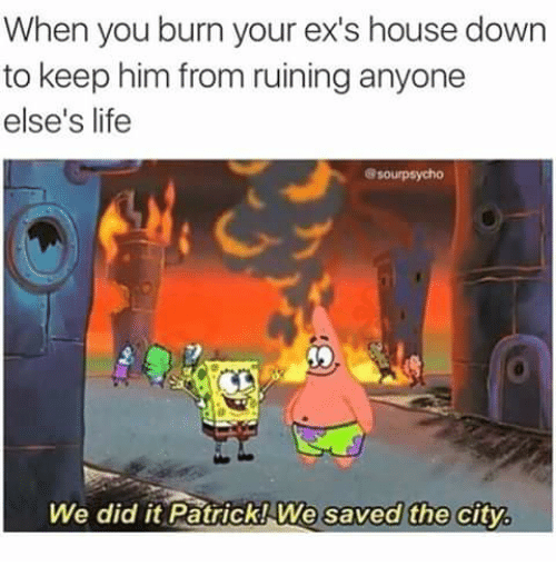 Ex's, Life, and Memes: When you burn your ex's house down  to keep him from ruining anyone  else's life  8sourpsycho  We did it Patrick! We saved the city