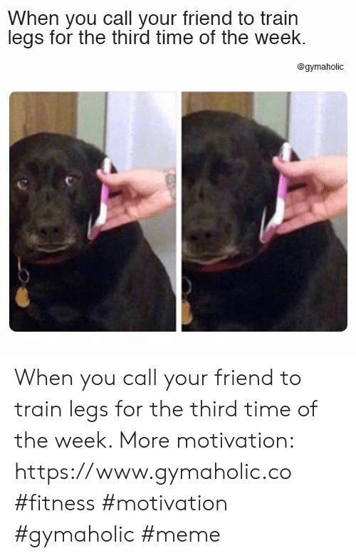 Meme, Time, and Train: When you call your friend to train  legs for the third time of the week  @gymaholic When you call your friend to train legs for the third time of the week.  More motivation: https://www.gymaholic.co  #fitness #motivation #gymaholic #meme