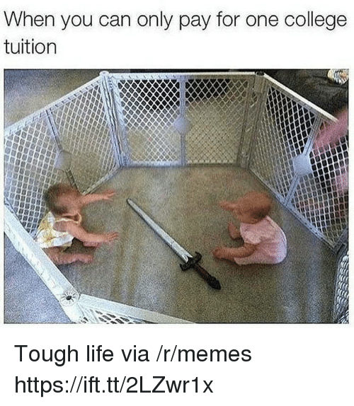 College, Life, and Memes: When you can only pay for one college  tuition Tough life via /r/memes https://ift.tt/2LZwr1x