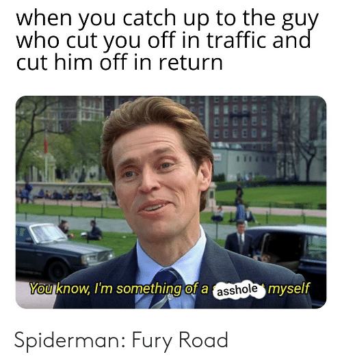Traffic, Spiderman, and Asshole: when you catch up to the guy  who cut you off in traffic and  cut him off in return  You know, I'm something of a asshole myself Spiderman: Fury Road