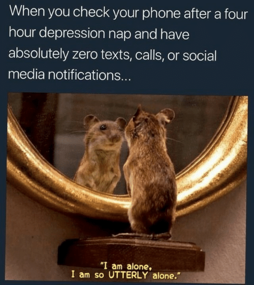 """utterly: When you check your phone after a four  hour depression nap and have  absolutely zero texts, calls, or social  media notifications...  """"I am alone,  I am so UTTERLY alone."""""""