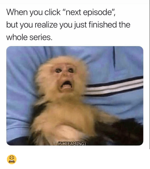 """Click, Funny, and Next: When you click """"next episode""""  but you realize you just finished the  whole series.  (SCREAMING) 😩"""