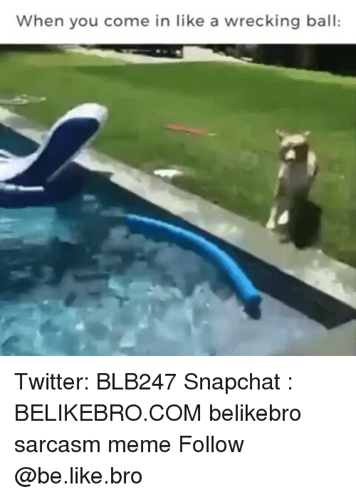 Be Like, Meme, and Memes: When you come in like a wrecking ball: Twitter: BLB247 Snapchat : BELIKEBRO.COM belikebro sarcasm meme Follow @be.like.bro