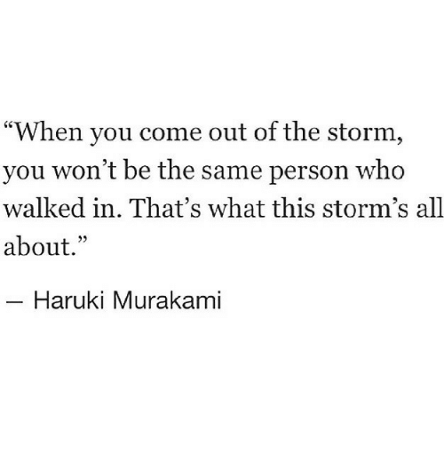 "Storm, Who, and Murakami: ""When you come out of the storm,  you won't be the same person who  walked in. That's what this storm's all  about.""  Haruki Murakami"