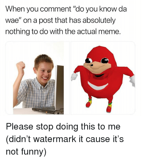 """Funny, Meme, and Memes: When you comment """"do you know da  wae"""" on a post that has absolutely  nothing to do with the actual meme. Please stop doing this to me (didn't watermark it cause it's not funny)"""