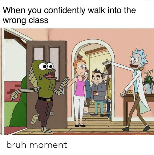 Bruh, Class, and Moment: When you confidently walk into the  wrong class  O0  1 bruh moment