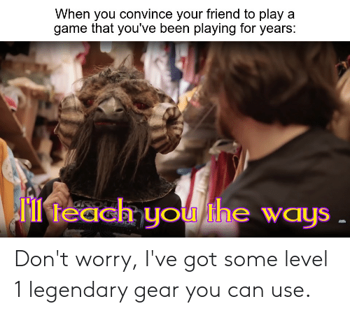 Game, Dank Memes, and A Game: When you convince your friend to play a  game that you've been playing for years:  feach you the ways  GRO Don't worry, I've got some level 1 legendary gear you can use.