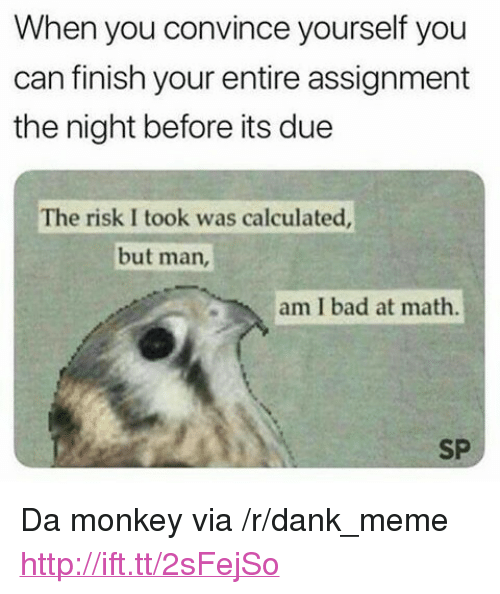 "Risk I Took Was Calculated But Man Am I Bad At Math: When you convince yourself you  can finish your entire assignment  the night before its due  The risk I took was calculated  but man,  am I bad at math.  SP <p>Da monkey via /r/dank_meme <a href=""http://ift.tt/2sFejSo"">http://ift.tt/2sFejSo</a></p>"
