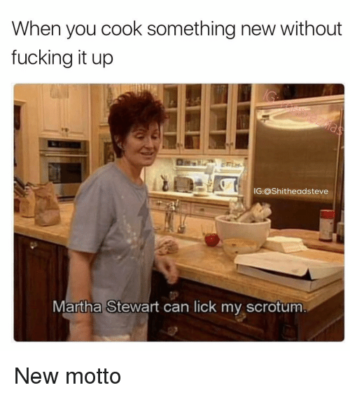 Martha Stewart, Dank Memes, and Fuck It: When you cook something new without  fucking it up  IG:@Shitheadsteve  Martha Stewart can lick my scrotum New motto