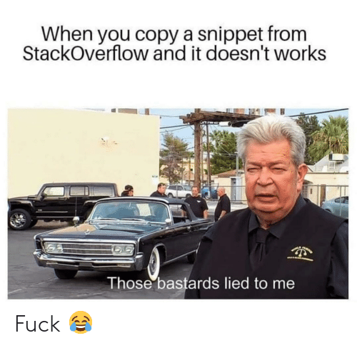 Fuck, Stackoverflow, and You: When you copy a snippet from  StackOverflow and it doesn't works  Those bastards lied to me Fuck 😂