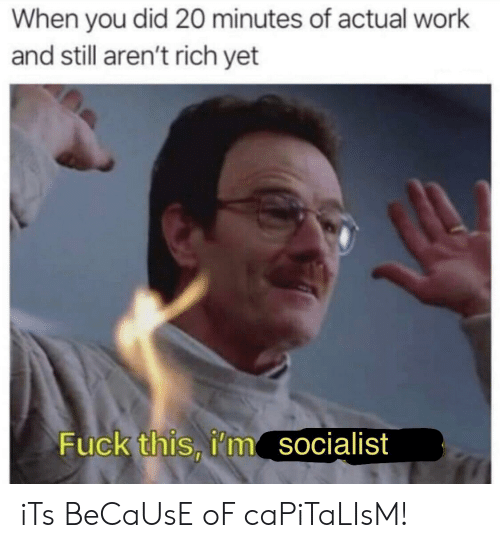 Work, Capitalism, and Fuck: When you did 20 minutes of actual work  and still aren't rich yet  Fuck this, i'm  socialist iTs BeCaUsE oF caPiTaLIsM!