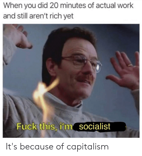 Work, Capitalism, and Fuck: When you did 20 minutes of actual work  and still aren't rich yet  Fuck this, i'm  socialist It's because of capitalism