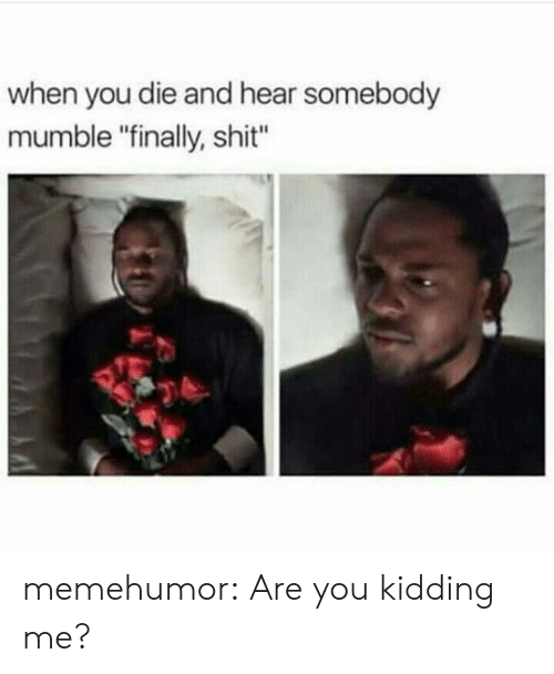 "mumble: when you die and hear somebody  mumble ""finally, shit"" memehumor:  Are you kidding me?"