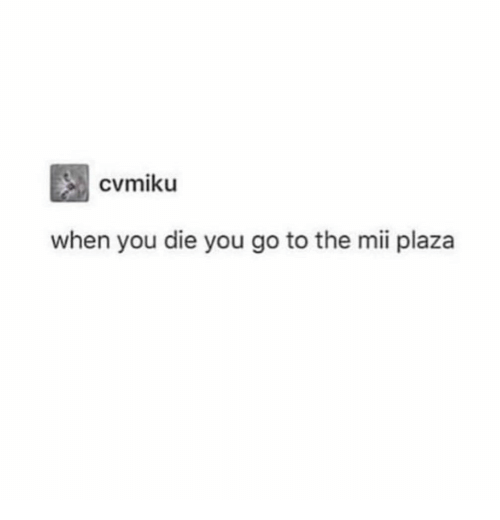 You, When You, and Mii: when you die you go to the mii plaza