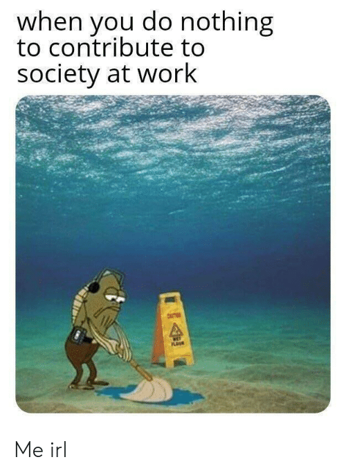 Work, Irl, and Me IRL: when you do nothing  to contribute to  society at work  NET  PLOUR Me irl