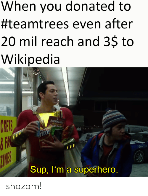mil: When you donated to  #teamtrees even after  20 mil reach and 3$ to  Wikipedia  CHES  BURNING COM  Hatanent  ritos  ZINES  Sup, I'm a superhero. shazam!