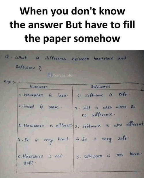 ans: When you don't know  the answer But have to fill  the paper somehow  Q.What  * difference between hard ware and  8oft ware ?  f/Sarcasmiol  Ans -  Hardware  8oftisare  8oft ·  1.Hard ware  hard.  is  1. Soft ware  is  2. Hard is ware.  2. Soft is also ware 80  no difference.  3. Hard tware  is difterent 3. Software. is alco different  zoft.  hard: 4 .1t it  4 It is  very  very  hard.  is not  5. Hardware  5. Software is not  8oft ·