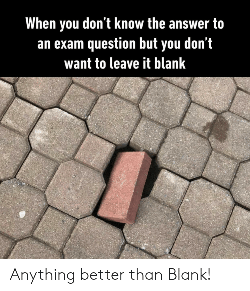 Blank, Answer, and You: When you don't know the answer to  an exam question but you don't  want to leave it blank Anything better than Blank!